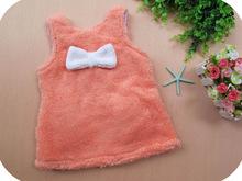 3 colors 2013 autumn and winter rabbit girls clothing baby child thickening plush  dress,Free Shipping(China (Mainland))