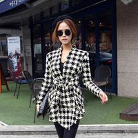 Korean Women Slim Woolen Jacket Coat Long Sleeve Houndstooth Pattern