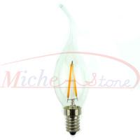 New 2500K Edison Tail C35 2W Glass Warm White Candle LED Bulb Lamp E14 Energy Saving Light 200V-240V Free Shipping 5pcs/lot