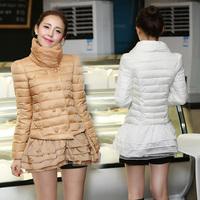 Ze 2014 long autumn and winter sweet organza medium-long slim down coat female
