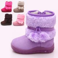 Hot !! 7 colors Children's Boots Winter Boy Girls Warm Winter Flat Snow Boots 21-35