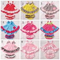 Baby girl  tiered Ruffle bloomers + baby strap bows  ruffled  short dress top shirt 2pcs clothing set outfits
