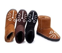 Martin boots women boots The new autumn boots Martin boots To help prevent slippery shoes in the cartoon cat flat cotton shoes