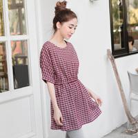 Orange 2014 autumn check fabric high waist one-piece dress plus size s 7l