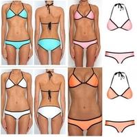 B500 Swimwears Stripe Neoprene Style Women 2014 Sexy Swimsuit bikini set Push Up Brand Biquini Beach Wear Bathing Suit 2014