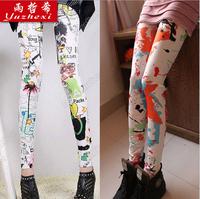 2014 new women's cotton printed graffiti leggings nine women