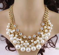 2014 New Arrival Luxury Multilayer Vintage Necklace Gold Choker Chunky Collar Chain Pendant Necklace Pearl Necklace Women 2014