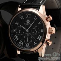 Orkina Men Rose Gold 6 Hands Man Dress Quartz Sport Men's Watch Mens Stop Wirst Watches Free Ship