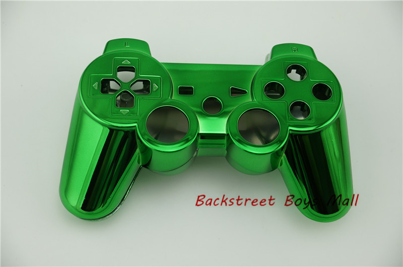 For Sony Dualshock 3 controller Chrome Green Front Shell and Back shell For ps3 controller shell wireless drop shipping in stock(China (Mainland))
