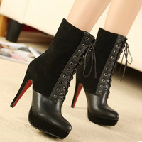 2014 Fashion Lady Sexy Simple Patchwork Lace up knot Mid-calf Platform Temperament High Heel Shoes Autumn Boots M211