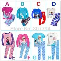 freeshipping!New 2014 frozen girls clothing sets children kids boys summer pajamas child Anna Elsa princess clothes for 80-130