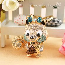 Fashion New Dazzling Small Squirrels Dazzling Crystal Purse Bag Keyring KeyChain Gift(China (Mainland))