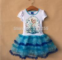 New designs Free shipping children clothing GIRS Frozen elsa  princess anna elsa short sleeves TUTU dress summer  high quality