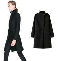 European 2014 Brand New Fashion ZA Women Autumn Winter Coat Woolen Cashmere Navy Casual Long Outerwear with Belt Free shipping