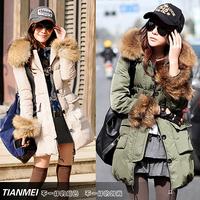 2014 down coat female slim medium-long thickening outerwear fur collar
