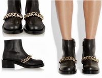 New Brand Designer 2014 Laura Black Gold Chain Ankle Boot Fashion Silver-tone Chunky Rubber Sole Women Shoes Bootie