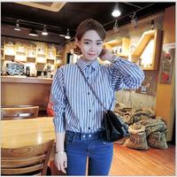 2014 Spring Autumn Women Hoodies Plaid Shirts Preppy Style Long Sleeve Vertical striped Plaid Blouse Casual Ladies Blouses Shirt