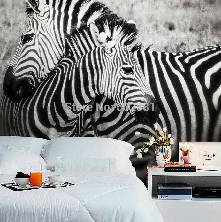 Koop zwart wit zebra paard behang muurtattoo art dier muur muurschildering - Behang zebra ...