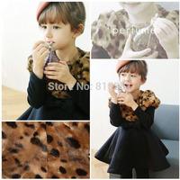 Children's autumn / winter 2014 Korean version of the new high-end fashion leopard print dress cotton girls