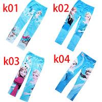 2014 New Baby Leggings Kid Pants Full Length Girl Kids Frozen Leggings Elsa Frozen Pants Elastic Waist Elsa Anna Leggings Kids