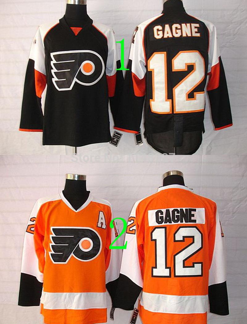 2014 Free Shipping Philadelphia Men's winter hockey uniform #12 Simon Gagne Black,Orange Ice Hockey jersey(China (Mainland))