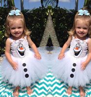 2014 White Snow Treasure Dress Cartoon Movie Cosplay Dress Girl Dress Frozen Princess Elsa Costume For Children Gift