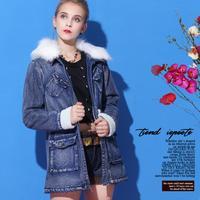 EU SIZE  2014 autumn winter women thick long dehim fur collor jeans jacket/Thick warm winter coat women winter down jeans coat