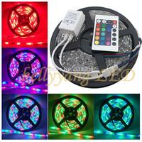 Free shipping 5M 3528 RGB 12V 300leds waterproof LED Strip Light Flex Ribbon + 24KEY IR Remote with tracking number