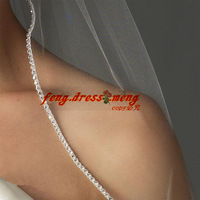 New Bead Edge Short 2 Layers White Ivory Wedding Bridal Cathedral VEIL SHAWL With Comb Tulle Crystal