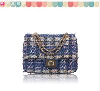 free shipping fashion 2014 autumn new style women's shoulder bag classic chain woolen lock catch striped shoulder bag
