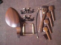 5 Sets Wenge Violin Parts 4/4 with Fine tuner and Tail gut and Chin rest clamp