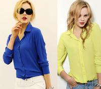 2014 Spring/Fall Patchwork Long-sleeved Female Chiffon Women's Shirt Women Fashion Autumn Blouse Shirt Professional Occupation
