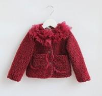 5pieces/lot Winter Children Girls Ruffles Cotton-padded FurJacket/coat, Baby Outerwear Wine/Grey, XL017