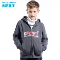 2014 spring autumn children's clothing 100% fleece cotton belt with a hood cardigan children's clothing sweatshirt boy outerwear