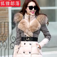New parka splicing luxury raccoon fur collars winter jacket women long thickening winter coat women