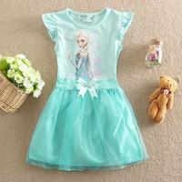 Top On Top wholesale new 2014  Frozen Elsa Dresses Kids Girls Dresses Snowflake Pattern Tutu Girls Dress Princess Clothes