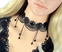 vintage accessories black crystal lace statement necklace christmas gift bijoux horse choker joias