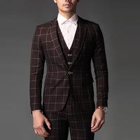 Brand High quality ( Jaket + pants + vest ) 2014 New Men suits slim fashion leisure overalls grid men's bridegroom wedding dress