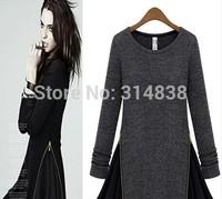 2014 new winter Hitz large size fat MM zipper long-sleeved round neck Chiffon dress fake two 1309 #