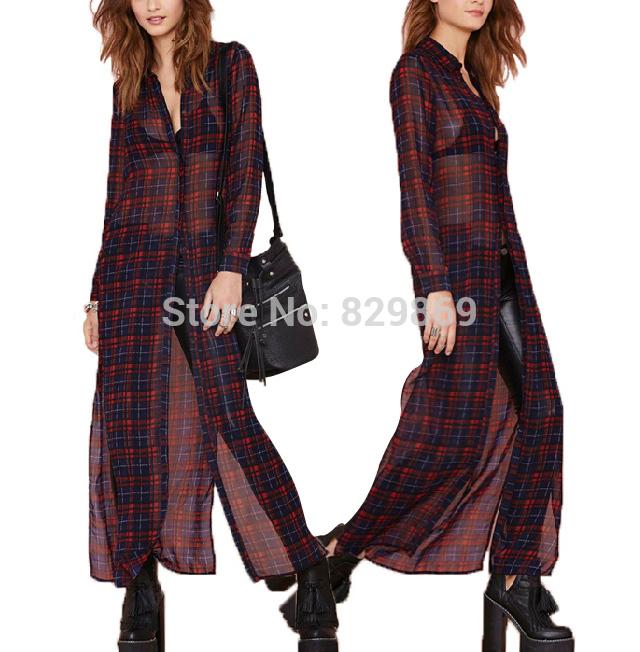 2014 nova moda celebridade Vintage Ethnic mulheres britânico Retro xadrez impressão Chiffon blusa protetor solar camisa de manga comprida fina vestido(China (Mainland))