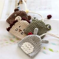Handmade yarn knitted cartoon animal stretch key wallet keychain