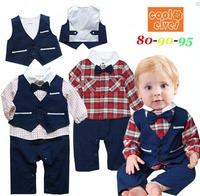 2014 New Autumn Bow Tie Gentlemen Baby Boy Clothes Sets ( Plaid Baby Boy Romper Long Sleeve + Vest ) Fashion Baby Suit 1302