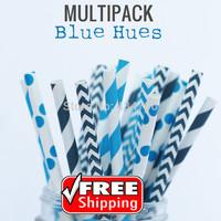 250pcs Mixed 5 Designs BLUE HUES Paper Straws, Blue and Navy Striped, Polka Dot, Chevron, Boy Party Supplies Decorations