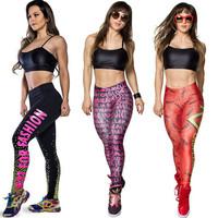 2015 Spirng New Women Leggings Thick Slim high waist Sport Leggings fashion Joggers Fitness Pants Print Leggins Gym clothes J-28