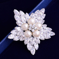 snowflake pearl brooch with cubic zircons star  frozen classic children Christmas gift NB-096 6 COLORS Neoglory Jewelry Outlets