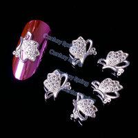 5pcs/pack High Quality 3D Golden Silver Zircon Alloy Rhinestones Big Butterfly Nail Art Decorations DIY