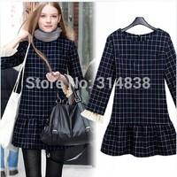 2014 new fall fashion loose dress skirt sweet temperament Korean long-sleeved dress 8867