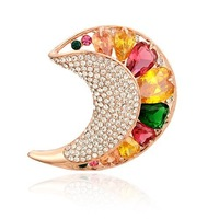 half moon full sparkle crystals brooch with cubic zircons classic children Christmas gift NB-102 Neoglory Jewelry Outlets