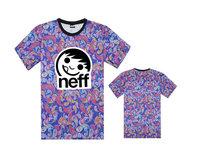 fashion sport short sleeved t shirts brand Neff leopard tee shirts casual cartoon print t-shirt men's hip hop clothing