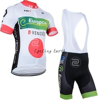 Free shipping! Europcar 2014 white short sleeve cycling jersey bib shorts set bike bicycle wear clothes jersey pants,gel pad